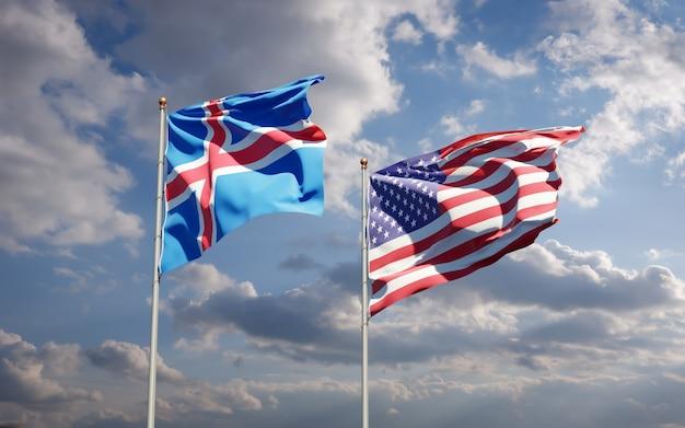 Beaux drapeaux nationaux de l'islande et des etats-unis ensemble