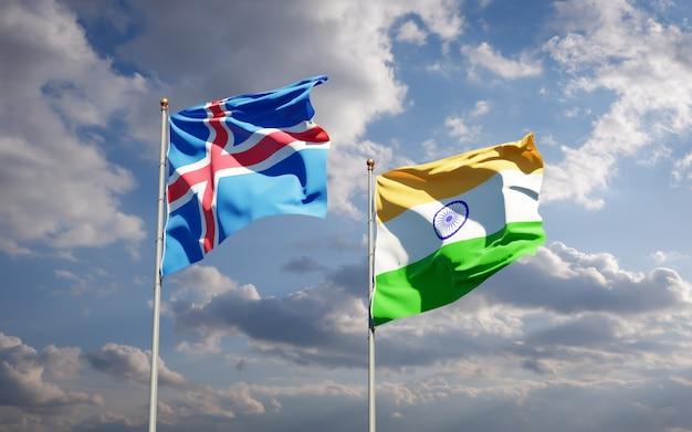 Beaux drapeaux nationaux de l'islande et de l'inde ensemble