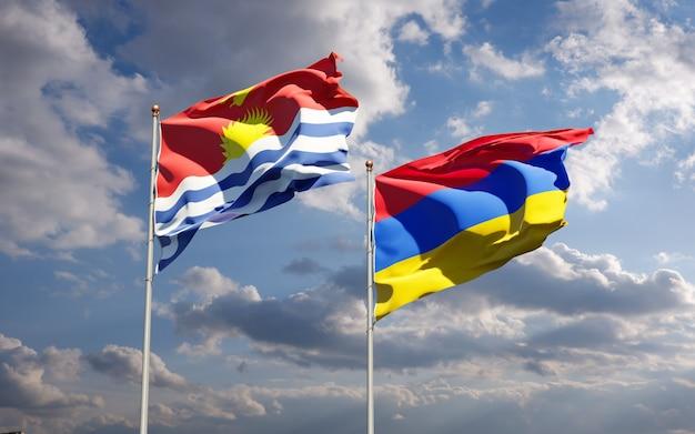 Beaux drapeaux nationaux de kiribati et d'arménie ensemble dans le ciel. concept d'illustration 3d.