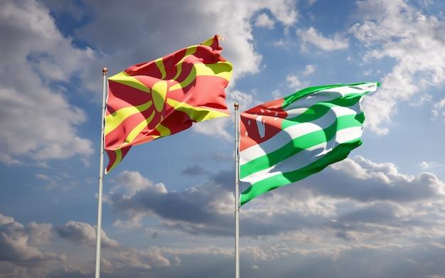 Beaux drapeaux nationaux de la macédoine du nord et de l'abkhazie ensemble