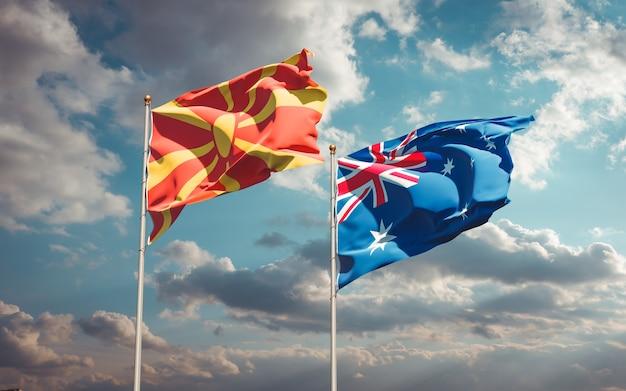 Beaux drapeaux nationaux de la macédoine du nord et de l'australie ensemble
