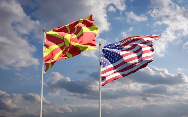Beaux drapeaux nationaux de la macédoine du nord et des états-unis ensemble