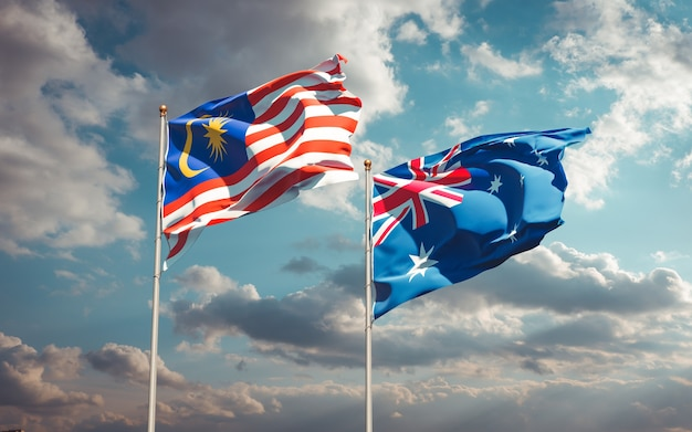 Beaux drapeaux nationaux de la malaisie et de l'australie ensemble