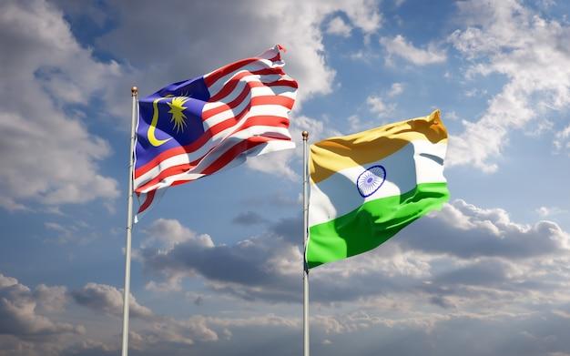 Beaux drapeaux nationaux de la malaisie et de l'inde ensemble