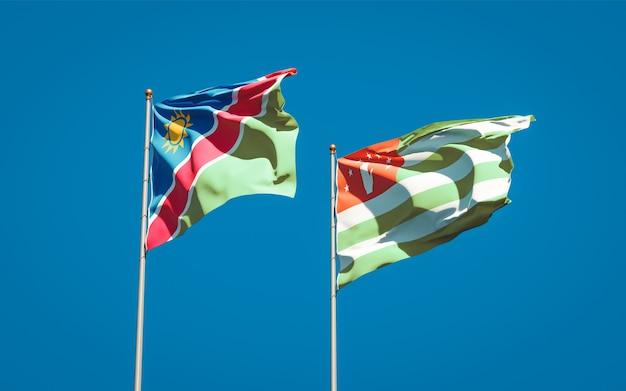 Beaux drapeaux nationaux de la namibie et de l'abkhazie ensemble