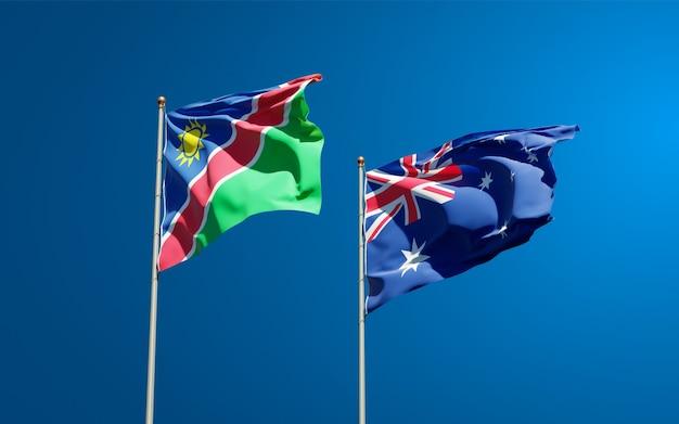 Beaux drapeaux nationaux de la namibie et de l'australie ensemble