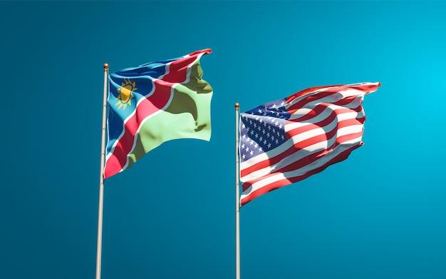 Beaux drapeaux nationaux de la namibie et des etats-unis ensemble