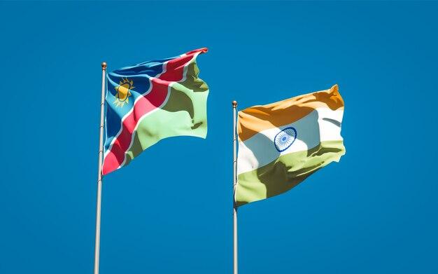 Beaux drapeaux nationaux de la namibie et de l'inde ensemble