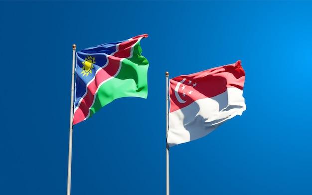 Beaux drapeaux nationaux de la namibie et de singapour ensemble