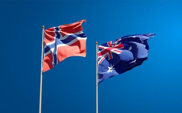 Beaux drapeaux nationaux de la norvège et de l'australie ensemble