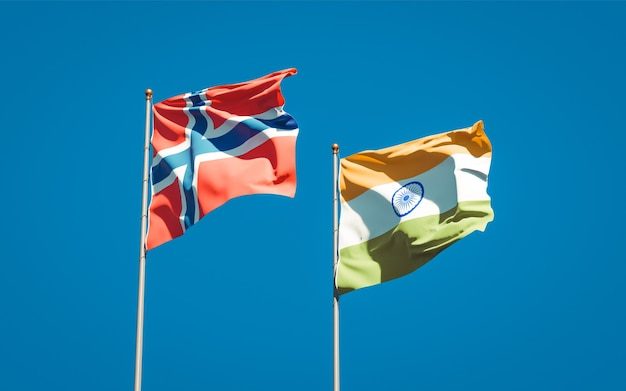 Beaux drapeaux nationaux de la norvège et de l'inde ensemble