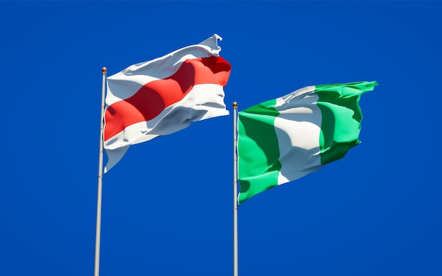 Beaux drapeaux nationaux de la nouvelle biélorussie et du nigéria ensemble sur ciel bleu