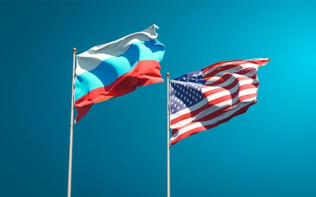 Beaux drapeaux nationaux de la nouvelle-russie et des états-unis ensemble