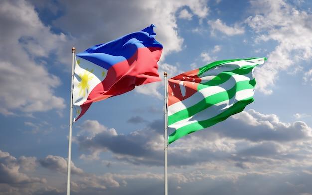 Beaux drapeaux nationaux des philippines et de l'abkhazie ensemble