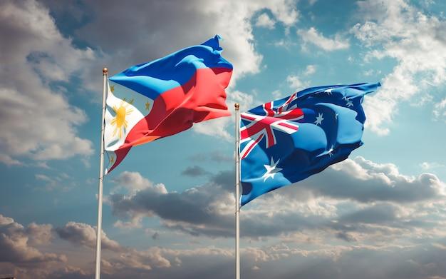 Beaux drapeaux nationaux des philippines et de l'australie ensemble