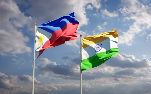 Beaux drapeaux nationaux des philippines et de l'inde ensemble