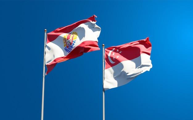 Beaux drapeaux nationaux de la polynésie française et de singapour ensemble