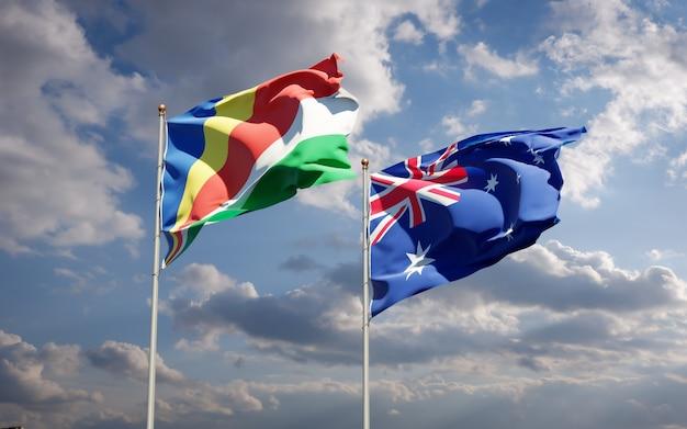Beaux drapeaux nationaux des seychelles et de l'australie ensemble