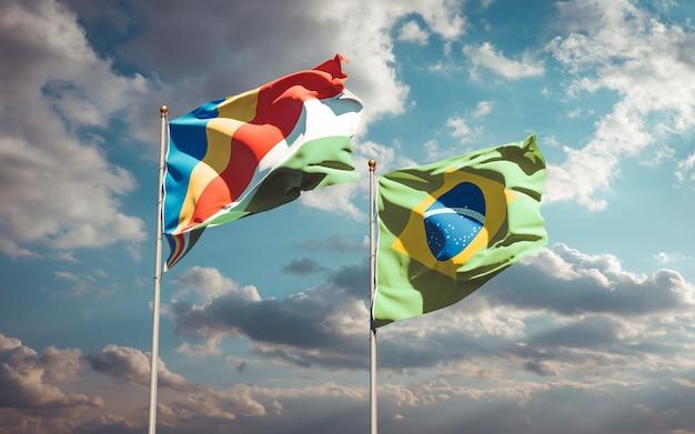 Beaux drapeaux nationaux des seychelles et du brésil ensemble sur ciel bleu