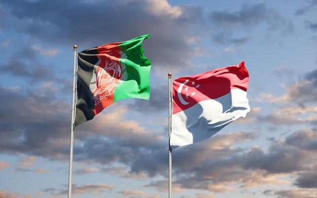 Beaux drapeaux nationaux de singapour et d'afghanistan