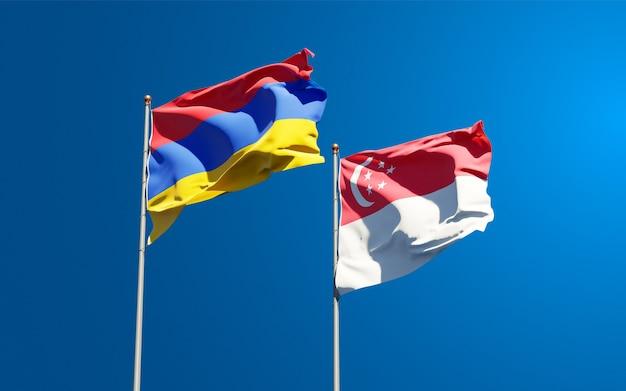 Beaux drapeaux nationaux de singapour et de l'arménie