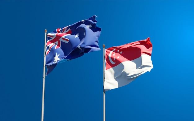 Beaux drapeaux nationaux de singapour et d'australie