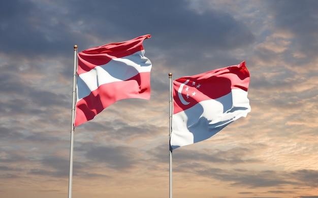 Beaux drapeaux nationaux de singapour et d'autriche