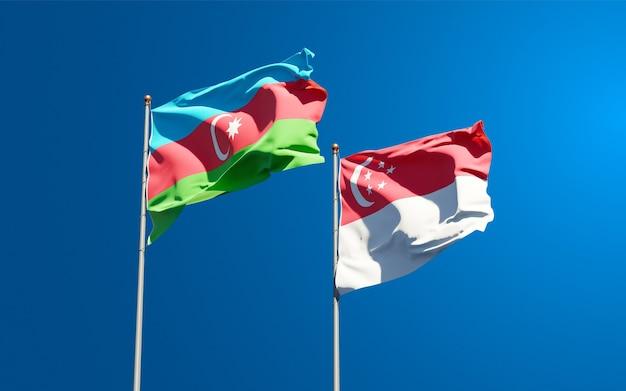 Beaux drapeaux nationaux de singapour et de l'azerbaïdjan