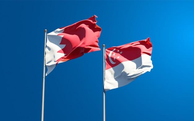 Beaux drapeaux nationaux de singapour et de bahreïn