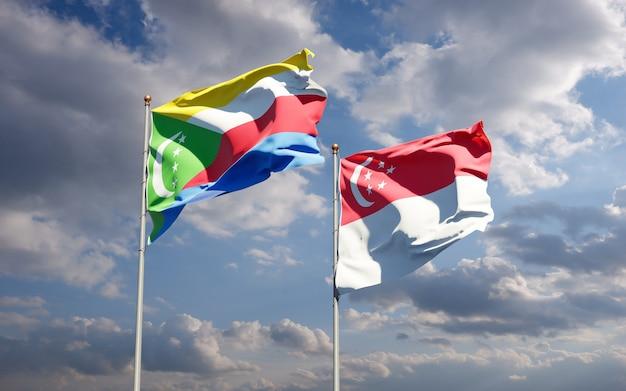 Beaux drapeaux nationaux de singapour et des comores