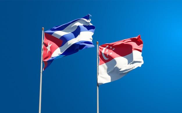 Beaux drapeaux nationaux de singapour et de cuba