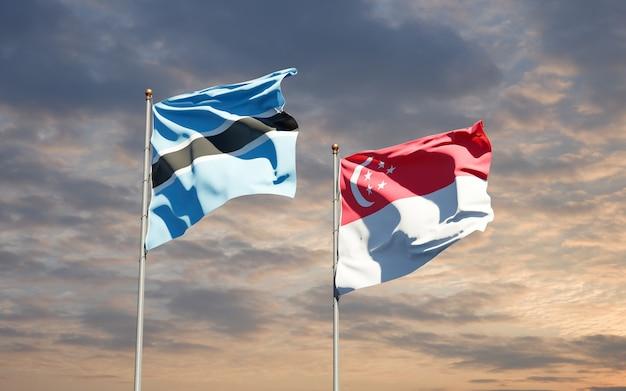 Beaux drapeaux nationaux de singapour et du botswana