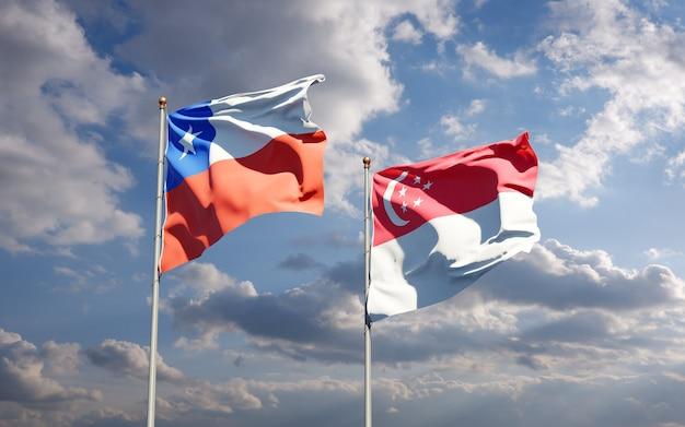 Beaux drapeaux nationaux de singapour et du chili