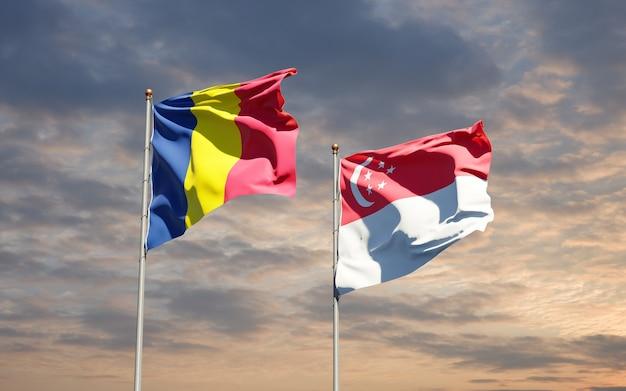 Beaux drapeaux nationaux de singapour et du tchad