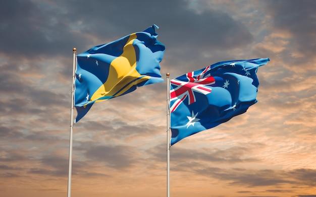 Beaux drapeaux nationaux des tokelau et de l'australie ensemble