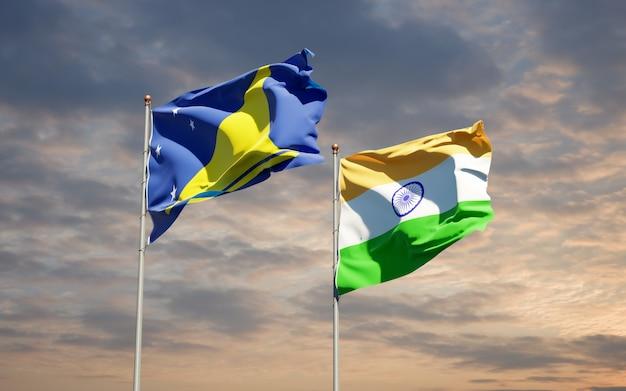 Beaux drapeaux nationaux des tokelau et de l'inde ensemble