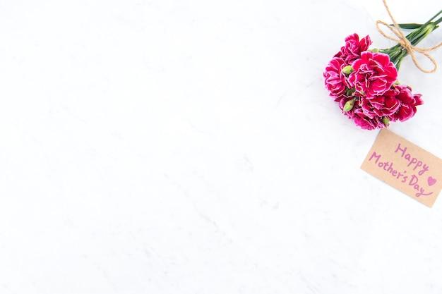 Beaux oeillets en fleurs attachés par un arc avec carte de texte kraft isolé sur une table moderne lumineuse, espace copie, mise à plat, vue de dessus