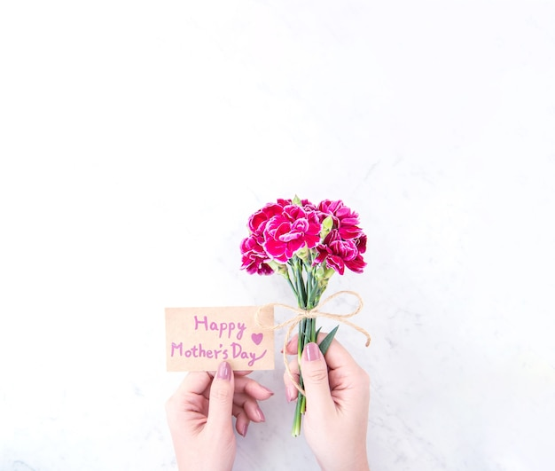Beaux oeillets en fleurs attachés par un arc kraft corde tenant dans la main de la femme isolée sur une table moderne lumineuse, espace copie, mise à plat, vue de dessus