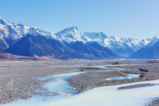 Beaux paysages naturels dans le parc national du mont cook, île du sud, nouvelle-zélande