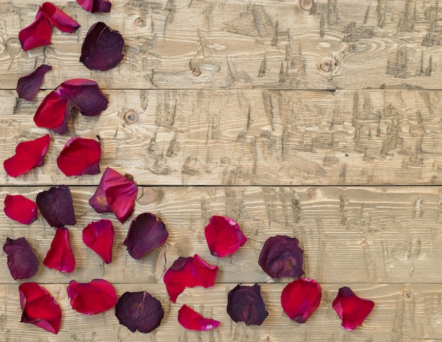 Beaux pétales de rose sur vintage rustique. vieilles planches en bois.