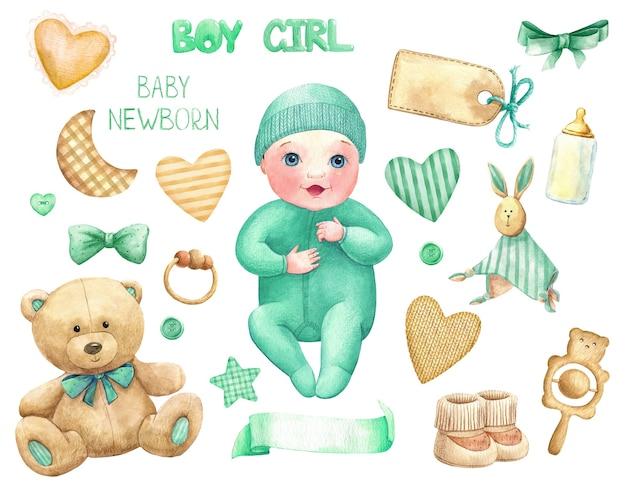 Bébé fille garçon aquarelle ensemble trucs jouets titre étiquette vert pastel mignon personnage aquarelle