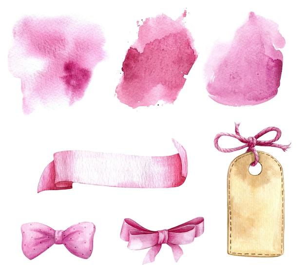 Bébé pépinière modèle ruban titre étiquette splash blanc aquarelle ensemble rose
