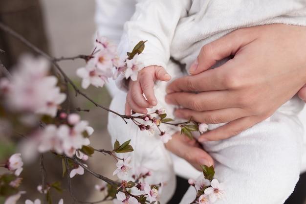 Bébé touche des fleurs. gros plan des mains des enfants