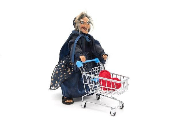 La befana, le costume traditionnel de sorcière pour la fête de l'épiphanie sur blanc
