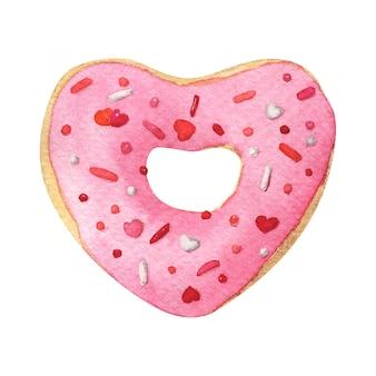 Beignet en forme de coeur avec glaçage rose. illustration aquarelle dessinée à la main isolée sur blanc