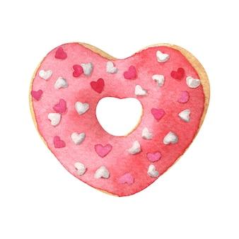 Beignet en forme de coeur avec glaçage rouge. illustration aquarelle dessinée à la main isolée sur blanc