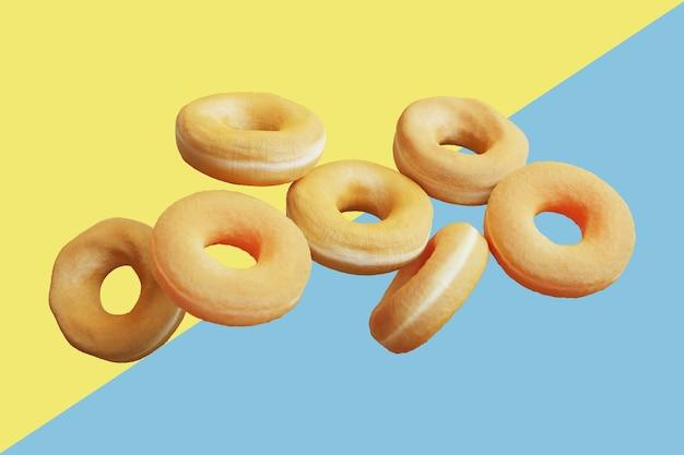 Beignets volants divers beignets glacés sur fond de couleur pastel. rendu 3d