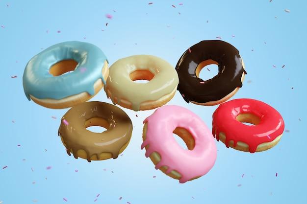 Beignets volants divers beignets glacés avec des paillettes sur fond pastel. rendu 3d