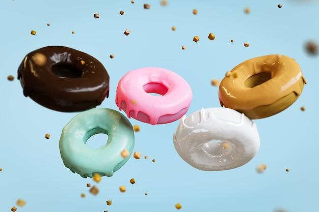 Beignets volants divers glacés avec pépites de chocolat sur fond de couleur pastel. rendu 3d