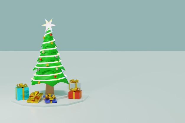 Bel arbre de noël, ornements de décorations colorées, lumières scintillantes, boîte de cadeaux rendu 3d